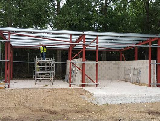 Metal Framework being installed